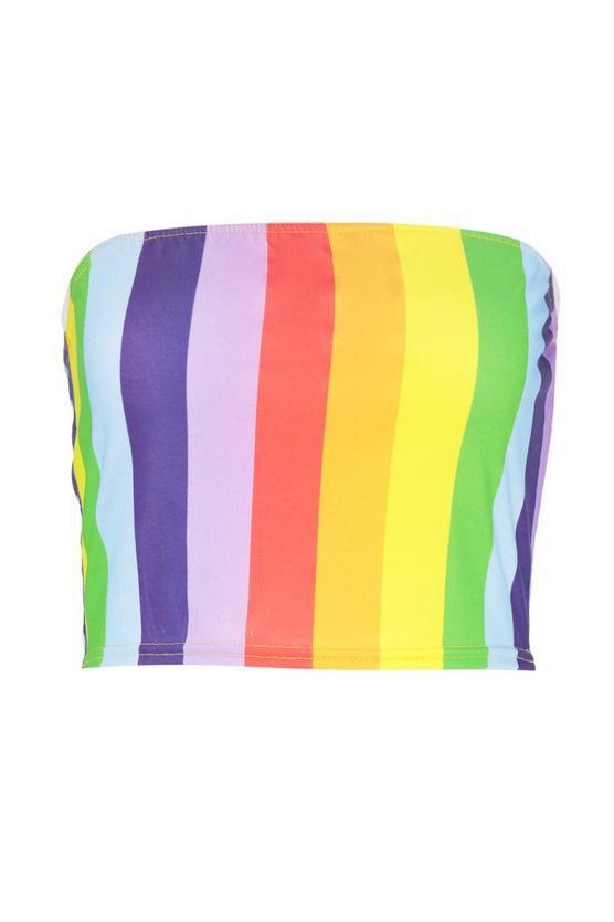 Brodie Rainbow Stripe Bandeau | Boohoo