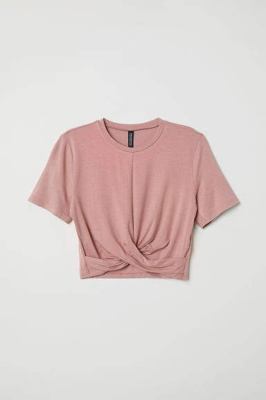 Jersey Top with Knot Detail - Pink