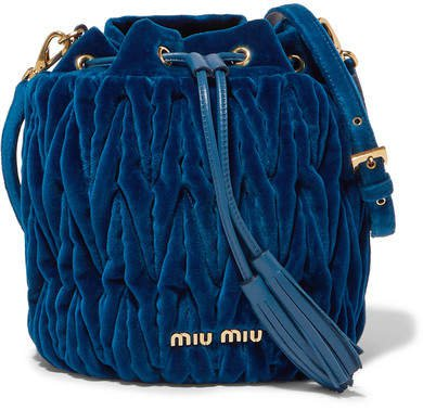 Leather-trimmed Matelassé Velvet Bucket Bag - Cobalt blue