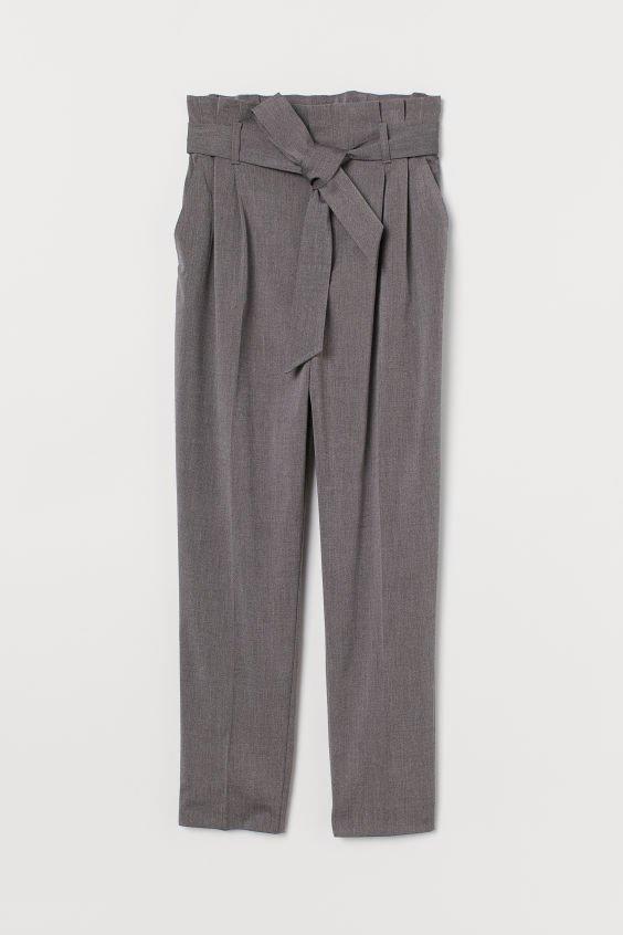 Paper-bag Pants - Gray melange - Ladies | H&M CA