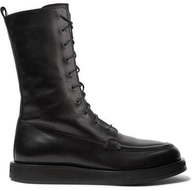 Patty Lace-up Leather Ankle Boots - Black