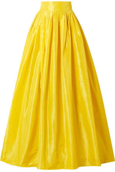 Belted Pleated Silk-satin Maxi Skirt - Yellow