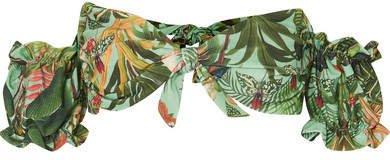 PatBO - Paradise Off-the-shoulder Printed Bikini Top - Green