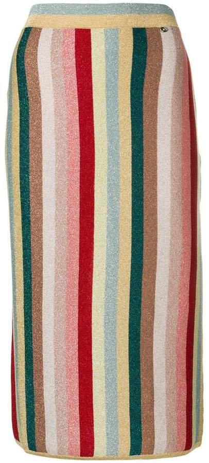 multicoloured striped skirt