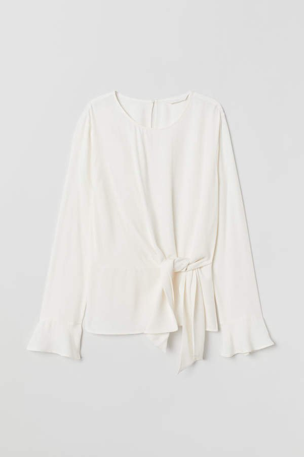 Blouse with Tie Detail - White