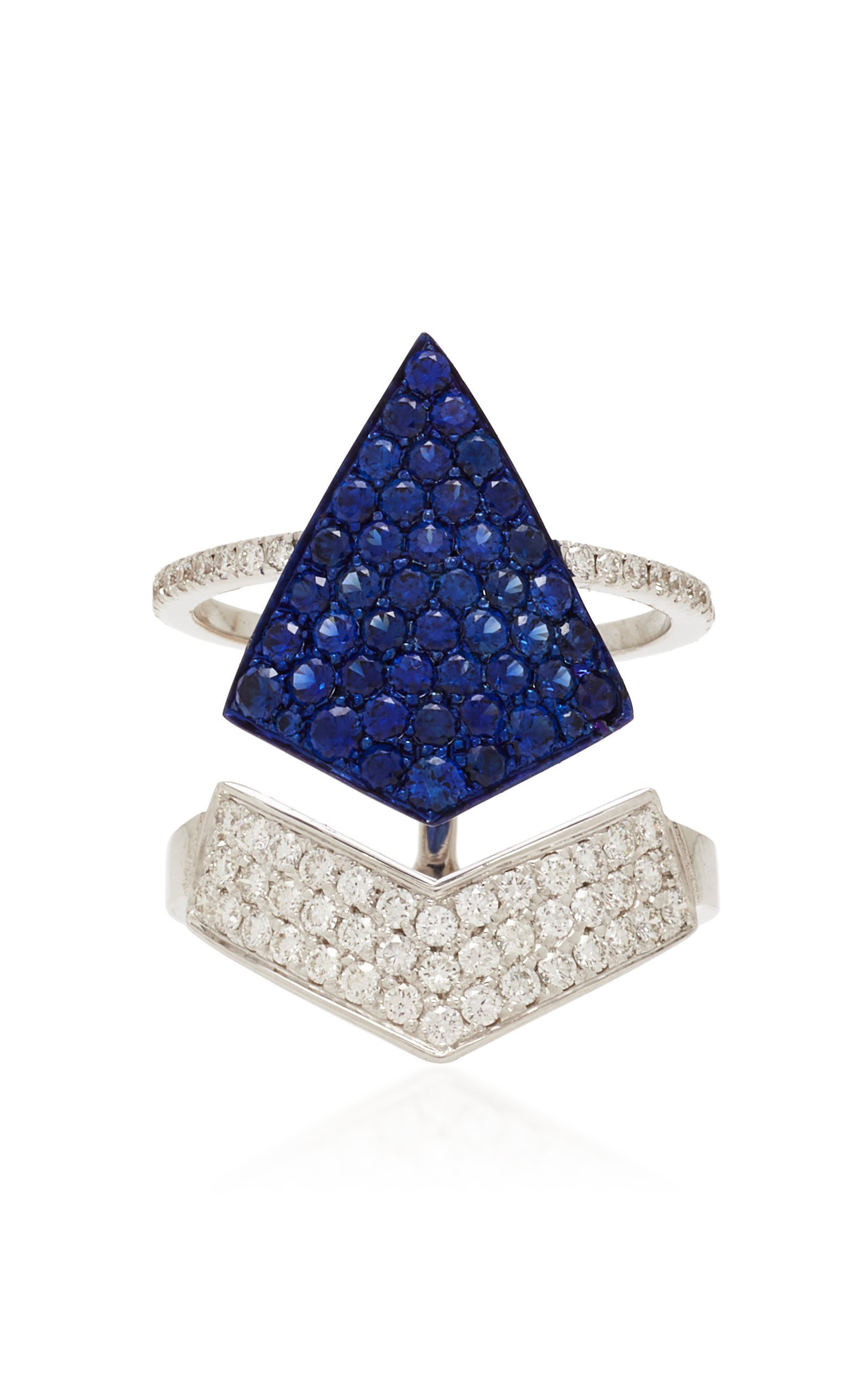 Busatti Arrow 18K White Gold And Sapphire Ring
