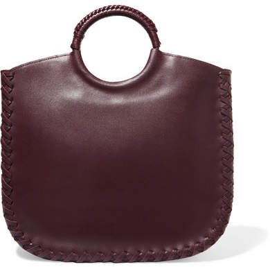 Amaia Whipstitched Leather Tote - Burgundy
