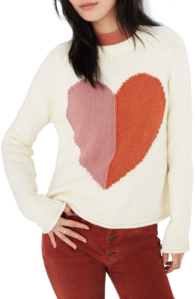 Madewell Keaton Heart Pullover Sweater   Nordstrom