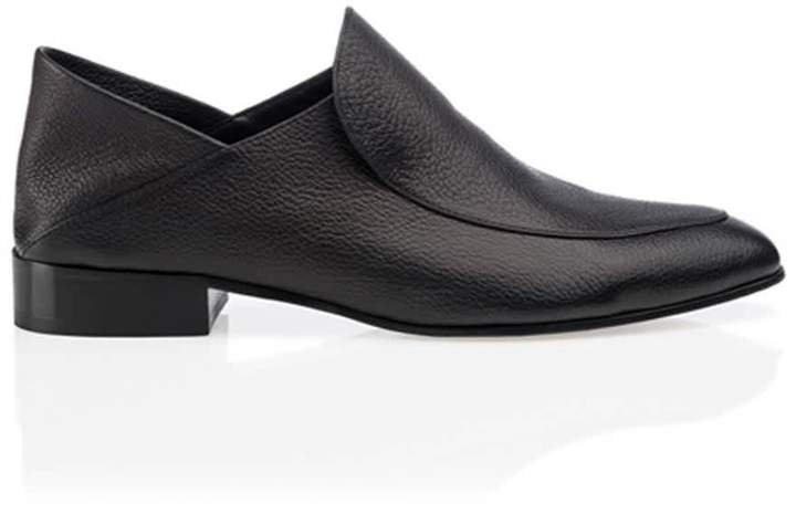 Chelsea Black Leather Flat Shoes