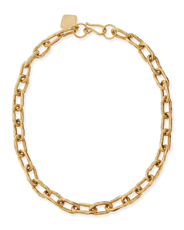 "Ashley Pittman 18"" Hammered Bronze Chain Necklace"