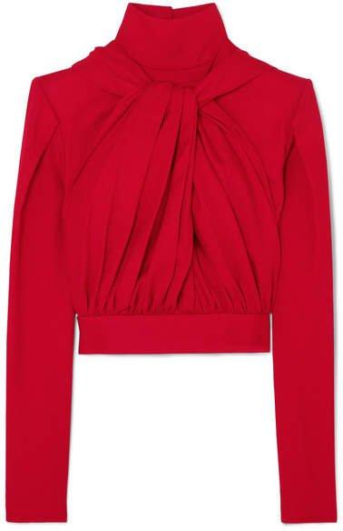 Lado Bokuchava - Draped Cotton-twill Top - Red