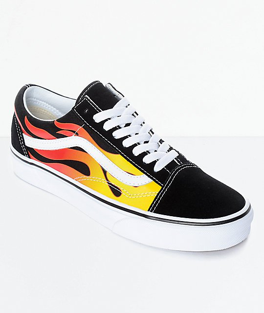 Vans Old Skool Flame Black & White Skate Shoes | Zumiez