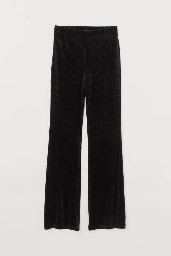 Flared Jersey Pants - Black