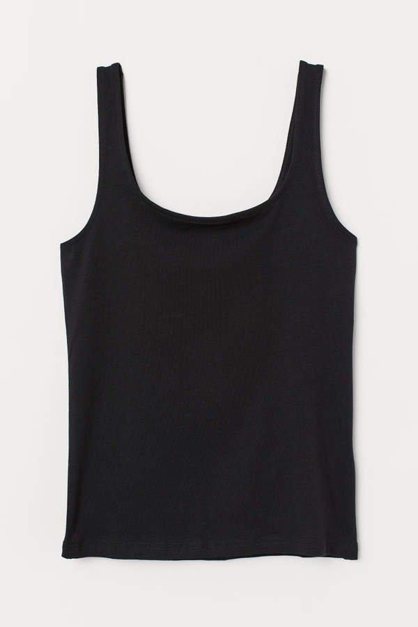 Cotton Jersey Tank Top - Black
