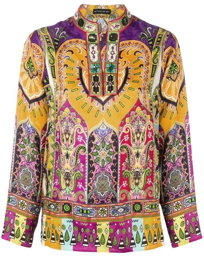 paisley-print tunic top