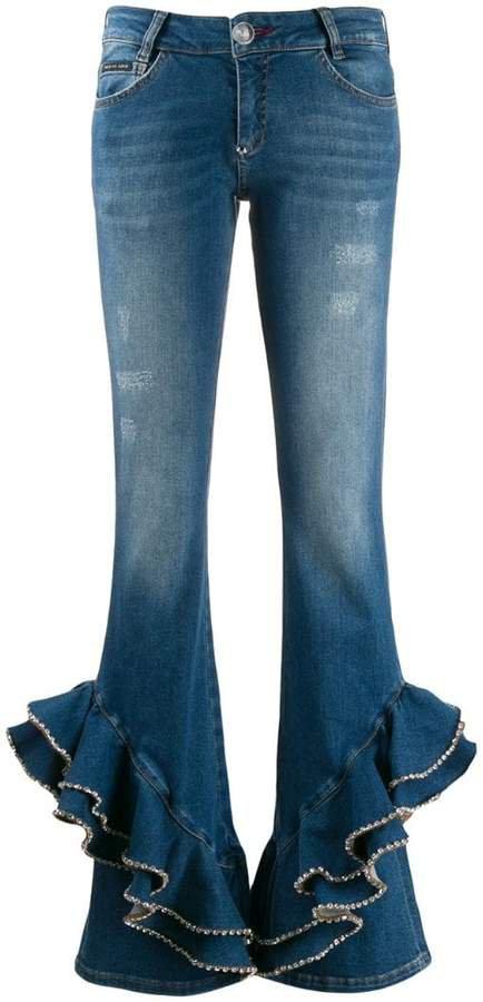 ruffle detail jeans