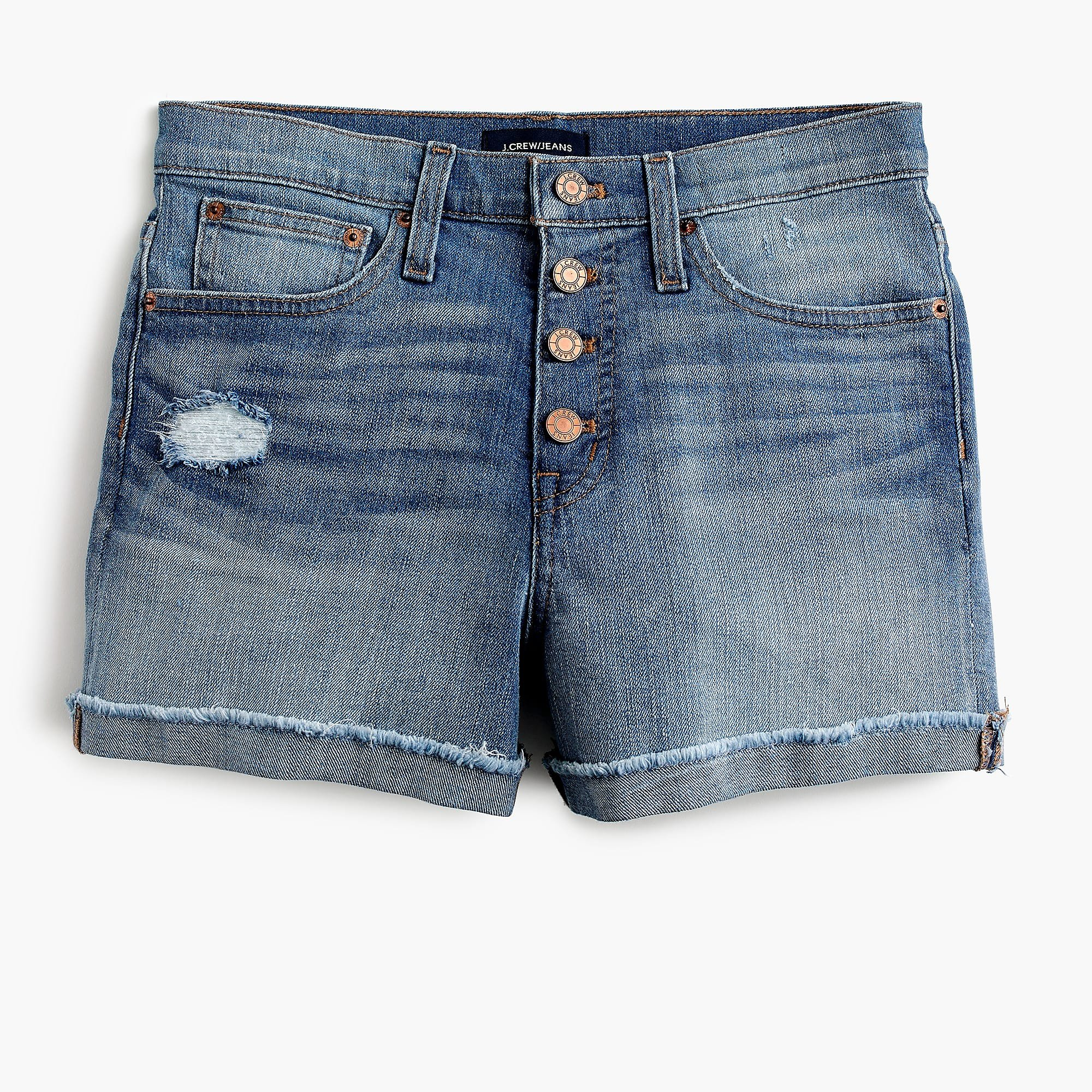 High-rise denim short with button fly - Women's Shorts   J.Crew
