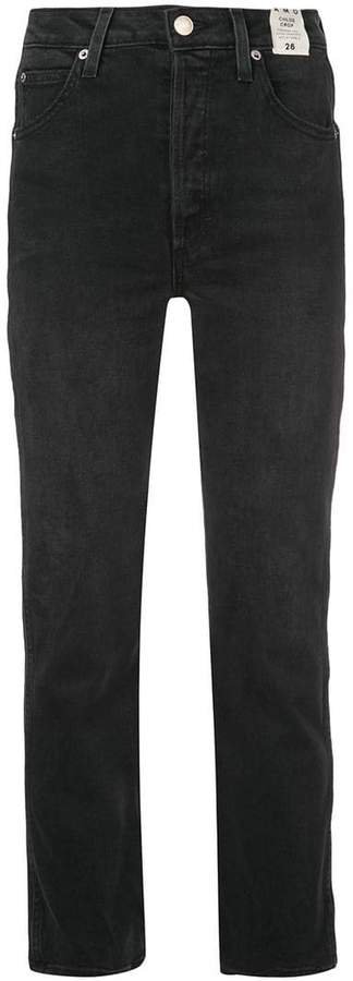 chloe crop piping jeans