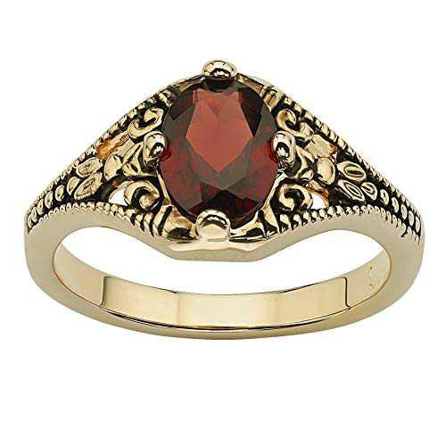Amazon.com: Palm Beach Jewelry 14K Yellow Gold-plated Antiqued Oval Cut Genuine Red Garnet Vintage-Style Ring: Clothing