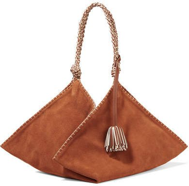Behati Origami Large Leather-trimmed Suede Tote - Light brown