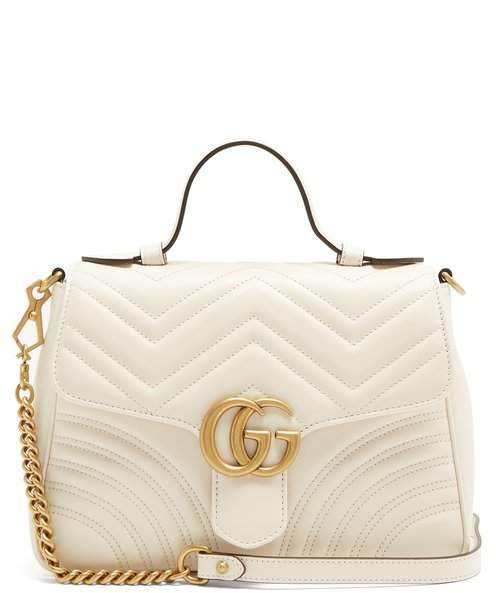 Gg Marmont Quilted Leather Shoulder Bag - Womens - White