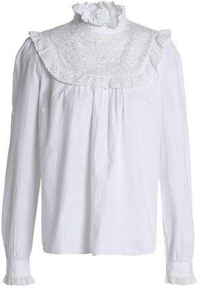 Ruffle-trimmed Embroidered Cotton Blouse