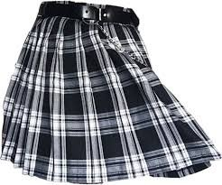 grunge skirt plaid skirt belt chain