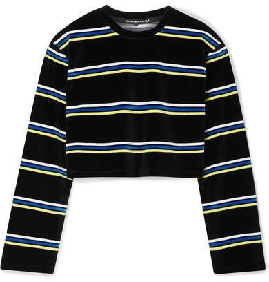 Cropped Striped Cotton-blend Velour Top - Black