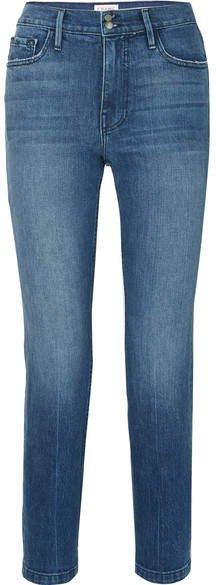 Heritage Sylvie Cropped Distressed High-rise Straight-leg Jeans - Mid denim