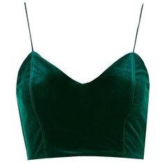 Green Velvet Crop Top