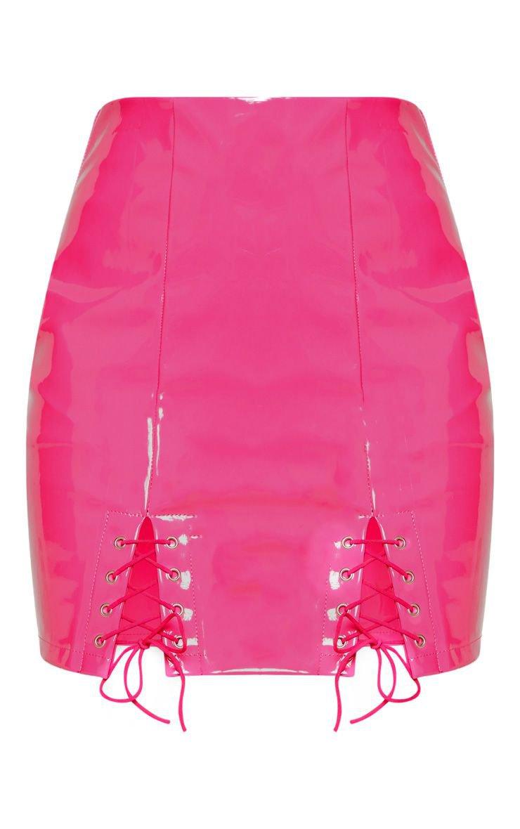 Neon Pink Vinyl Double Lace Up Hem Mini Skirt   PrettyLittleThing