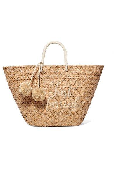 Kayu | St Tropez pompom-embellished embroidered woven straw tote | NET-A-PORTER.COM