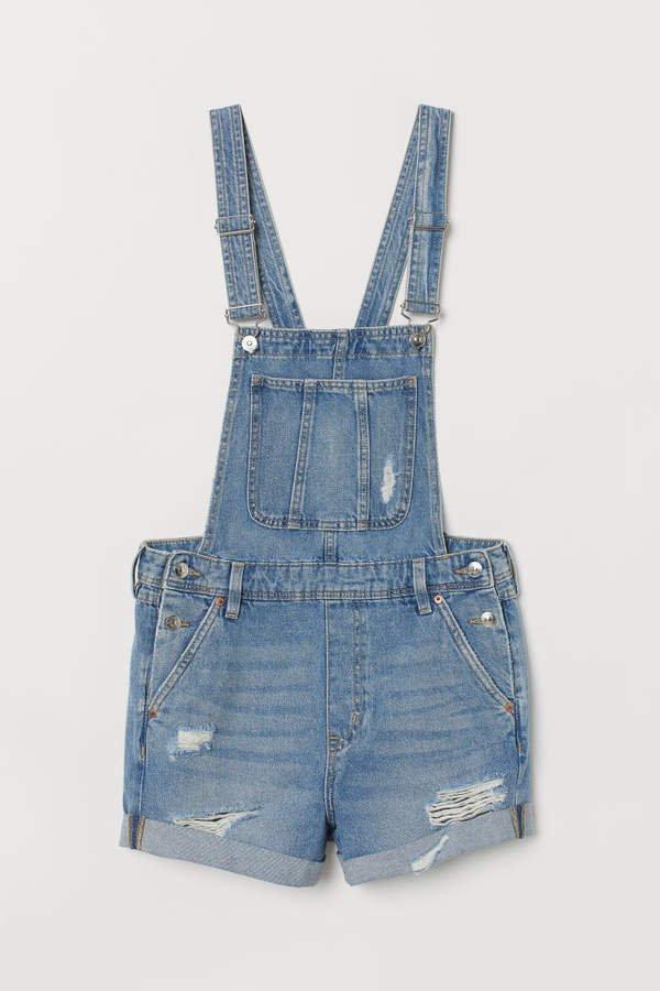 Denim Bib Overall Shorts - Blue