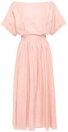 Cutout Cotton And Linen-blend Midi Dress