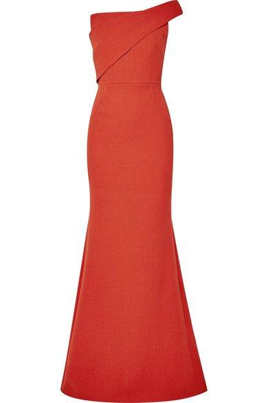 Roland Mouret | Lockton one-shoulder wool-crepe gown | NET-A-PORTER.COM