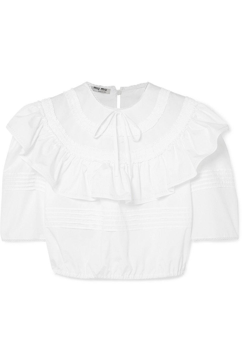 Miu Miu | Cropped ruffled cotton-poplin blouse | NET-A-PORTER.COM