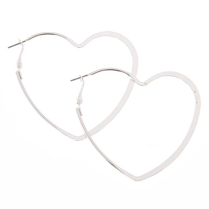 Silver 65MM Heart Hoop Earrings | Claire's