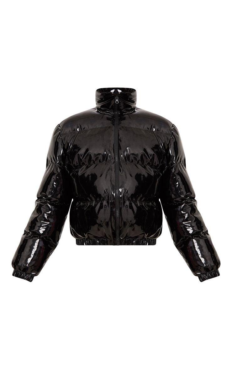 Black Cropped Vinyl Puffer Jacket   PrettyLittleThing USA
