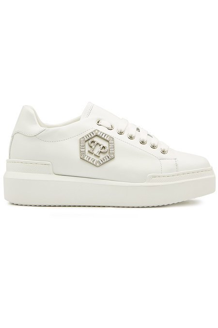 Philipp Plein - Leather Sneakers with Crystals - white