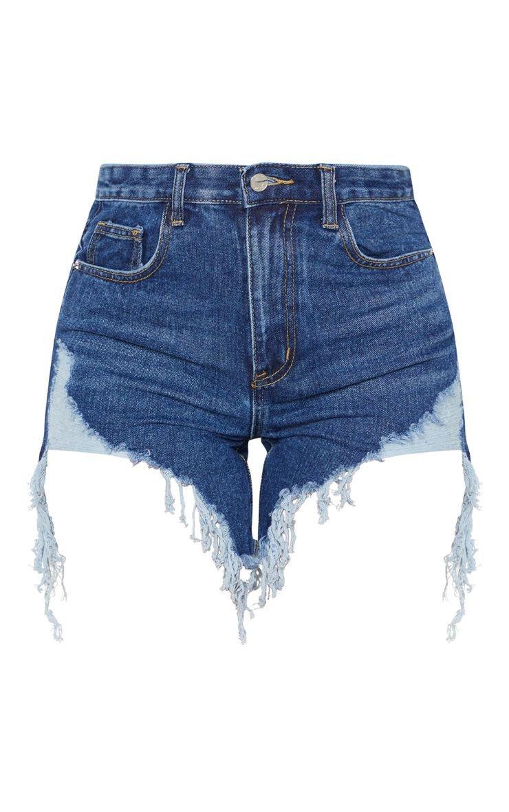 Dark Wash Distressed Denim Shorts   PrettyLittleThing USA