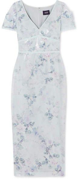 Sequined Floral-print Crepe Midi Dress - Light blue