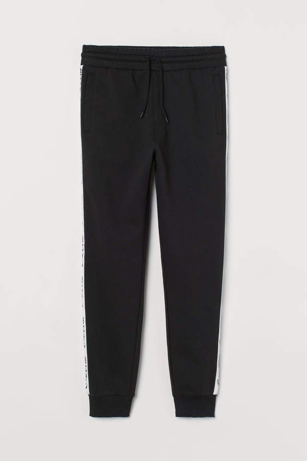 Joggers with Side Panels - Black