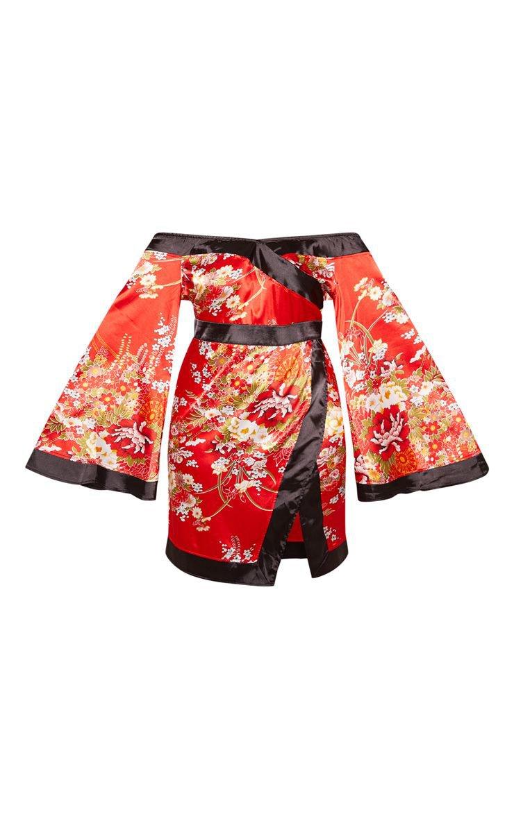 Plus Lilac Bardot Oriental Flare Bodycon Dress | PrettyLittleThing USA