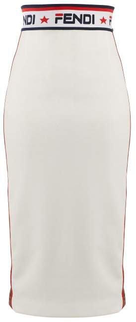 Side Stripe Jersey Pencil Skirt - Womens - White Multi