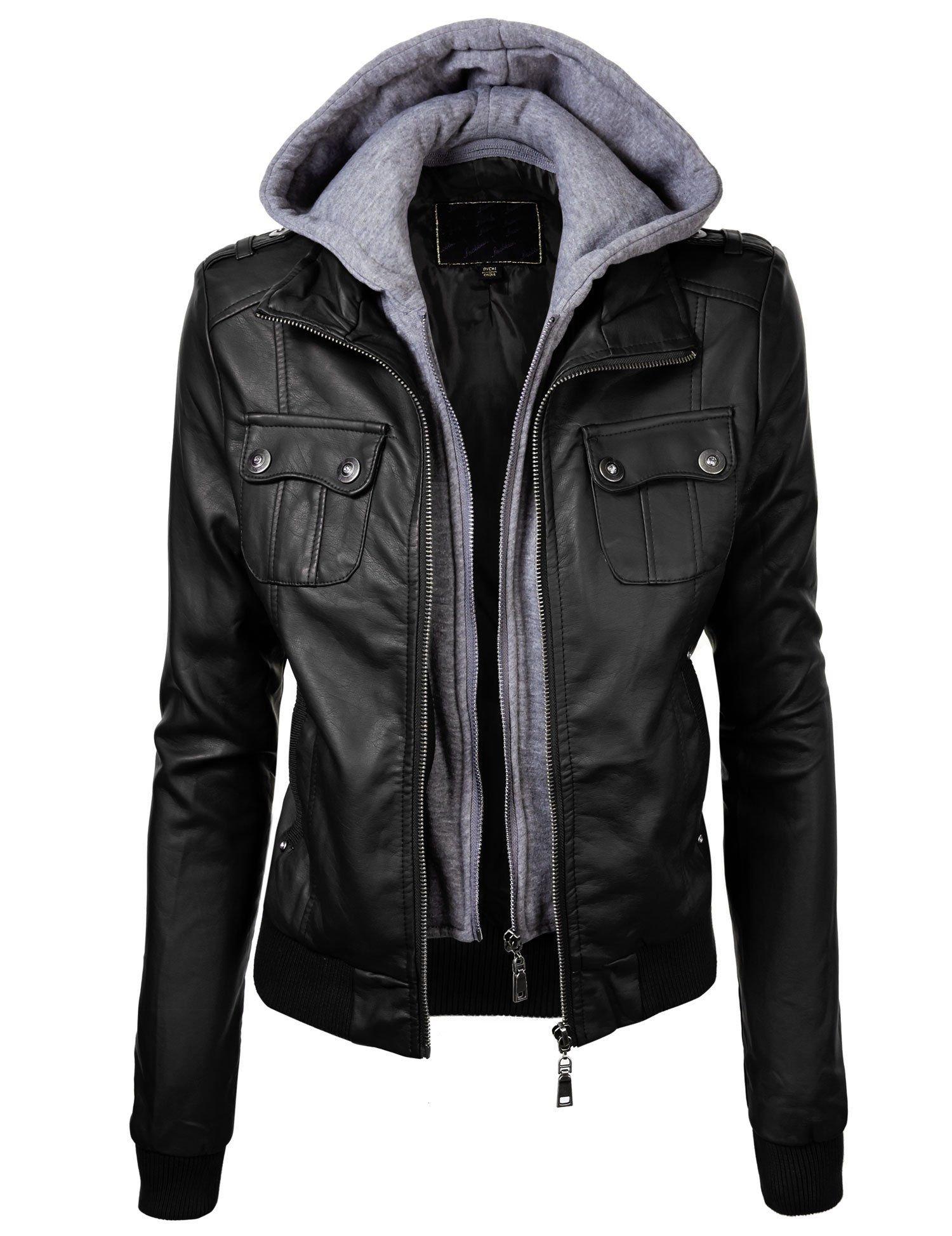 Leather Jacket w/ Hoodie