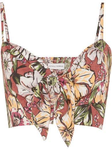De Fiori Cropped Floral-print Linen Top - Brown