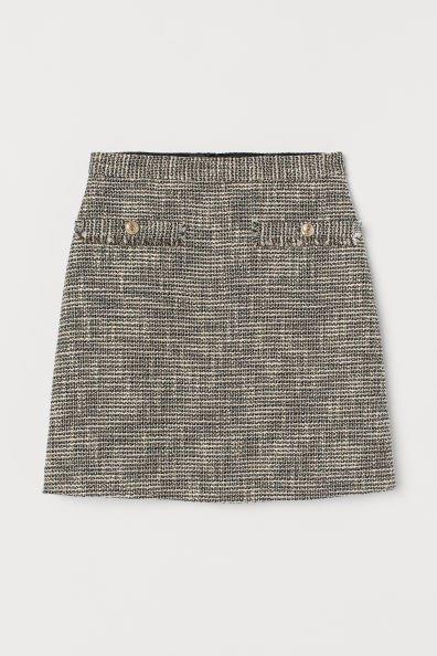 Textured-weave Skirt - Black/natural white - Ladies | H&M US