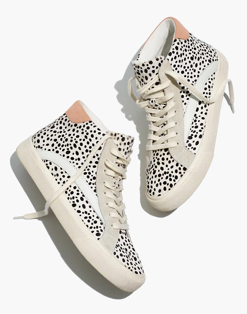 Sidewalk High-Top Sneakers in Spotted Calf Hair and Suede