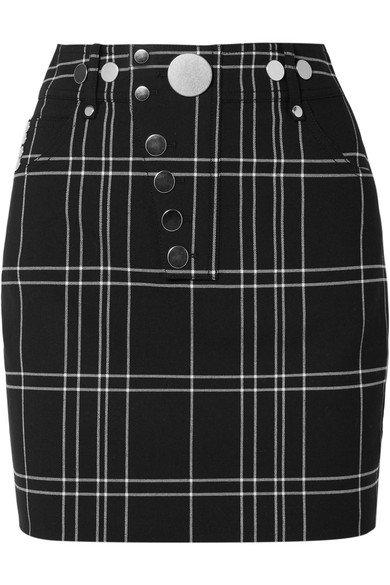 Alexander Wang   Checked woven mini skirt   NET-A-PORTER.COM