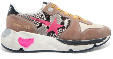 Running Sole Distressed Snake-effect Leather, Suede And Mesh Sneakers - Taupe